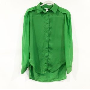 3.1 Philip Lim Green Button Down Blouse